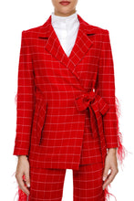 Load image into Gallery viewer, Plaid Feather Wrap Jacket