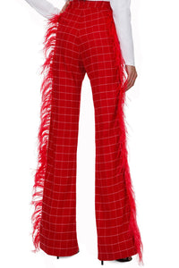 Plaid Feather Pants