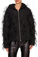 Load image into Gallery viewer, Black Feather Zip Jacket