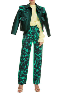 Floral Print Slim Trousers - Green