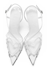 PVC Heart Slingbacks - White
