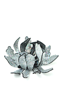 Opalescent Sequin Flower Brooch - Silver