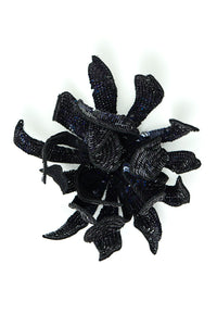 Opalescent Sequin Flower Brooch - Black