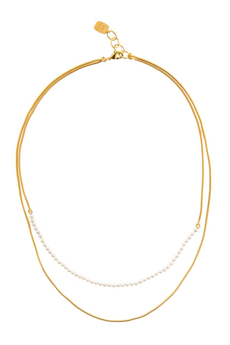 Pearl Chain Double Layer Necklace