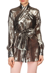Silver Lame Wrap Tops