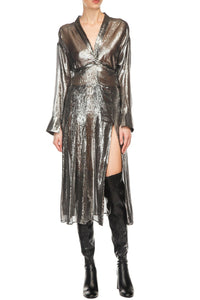 Silver Lame Wrap Dress