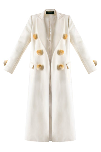 Pompom Wool Coat - White
