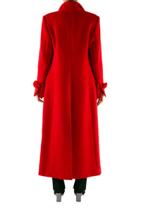 Pompom Wool Coat - Red