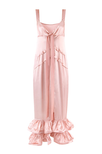 Ruffle Silk Slip Dress