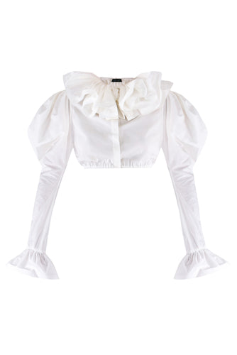 Crop Ruffle Cotton Blouse - White
