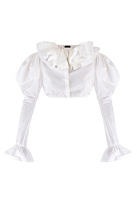 Crop Ruffle Cotton Blouse
