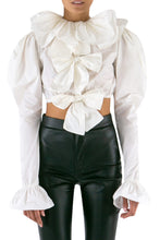 Load image into Gallery viewer, Crop Bow Taffeta Blouse