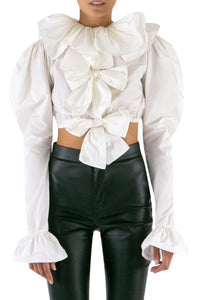 Crop Bow Taffeta Blouse