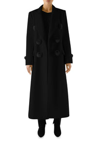 Pom Pom Wool Coat - Black