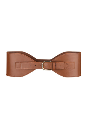 Wide Buckle Belt - Brown