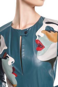 Faces Leather Dress - Teal