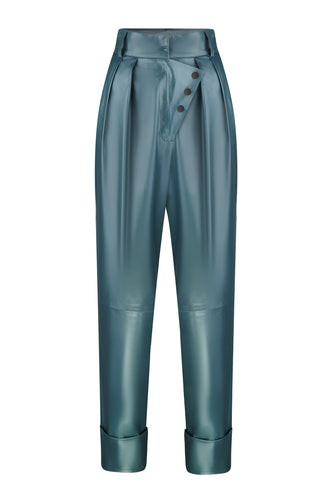 Button Detail Leather Pants - Teal
