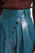 Load image into Gallery viewer, Button Detail Leather Pants - Teal