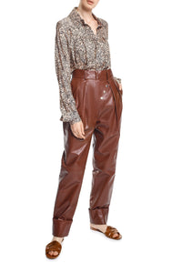 Button Detail Leather Pants - Brown