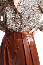 Load image into Gallery viewer, Button Detail Leather Pants - Brown