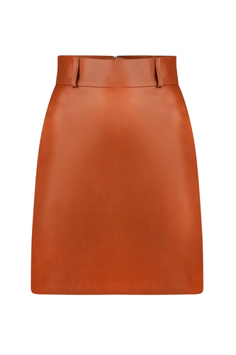 Leather Mini Skirt - Cognac