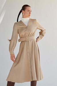 Satin Button Front Dress - Beige
