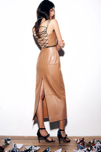 Leather Crisscross Back Dress