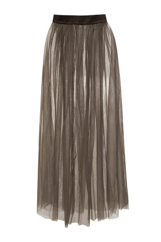 Long Sheer Skirt - Brown
