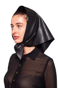 Eco Leather Kerchief Scarf - Black