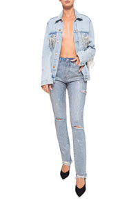 Crystal Fringe Denim Jacket