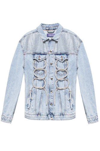 Crystals Rope Front Denim Jacket - Blue