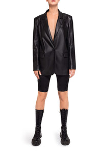 Eco Leather Blazer - Black
