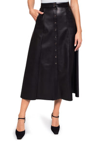 Eco Leather Button Front Skirt