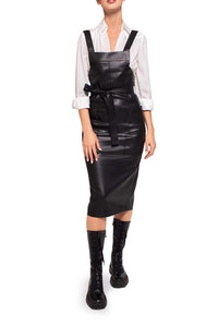 Eco Leather Square Neck Dress