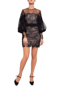 Lace Net Mini Dress