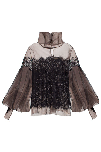 Lace and Chiffon High Neck Blouse