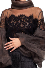 Load image into Gallery viewer, Lace and Chiffon High Neck Blouse