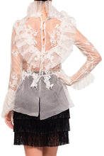 Load image into Gallery viewer, Ruffle Bodice High Neck Peplum Blouse