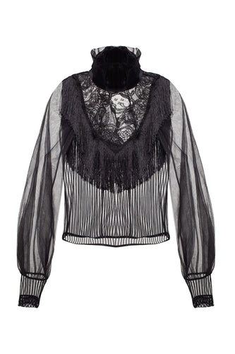 Fringe Yoke High Neck Blouse