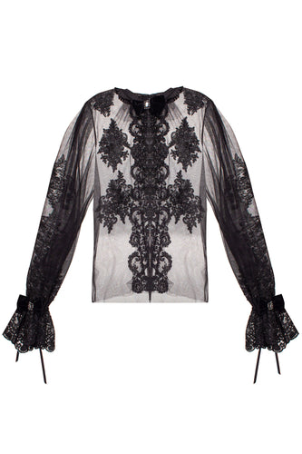 Lace and Chiffon Blouse with Crystal Embellishment