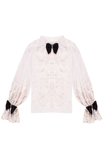 Lace and Chiffon Blouse with Velvet Bows