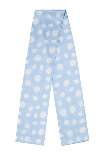 Daisy Oblong Scarf - Pale Blue