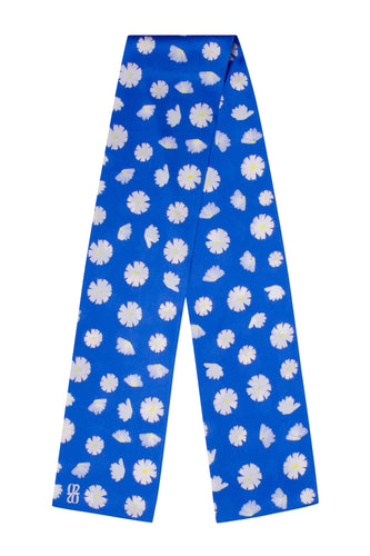 Daisy Oblong Scarf - Bright Blue