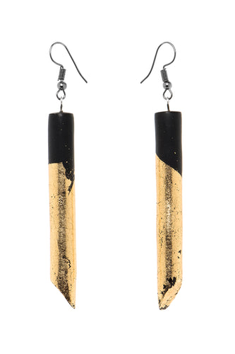 Resin Knife Earrings - Gold