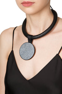Leather Tube Pendant Necklace