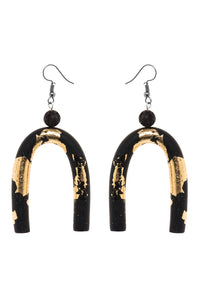 Resin Arch Earrings - Gold