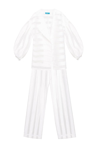 Sheer Stripe Organza Suit