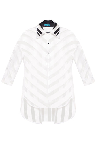 Sheer Chevron Stripe Shirt
