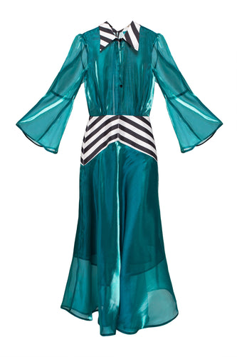 Peplum Stripe Maxi Dress