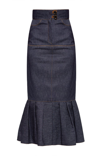 Denim Slim Pleat Skirt